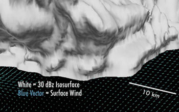 An elevated 3-D view of a parent supercell with two merging cells along the flanking line.