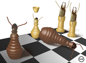 Metaphorical termite-like chess set showing succession to royalty by a pawn-termite of worker caste.