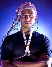 University of Maryland Professor Jos� 'Pepe' Contreras-Vidal wears his non-invasive Brain Cap.