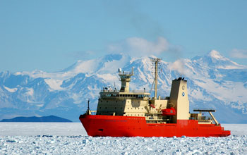 research vessel Nathaniel B. Palmer surrounded by ice in McMurdo Sound, Antarctica
