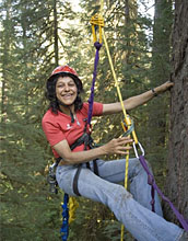 Photo shows Nalini Nadkarni and ropes and pulleys she uses as a canopy researcher.