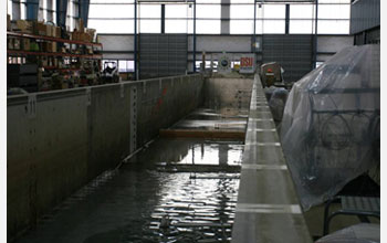 Photo of the Seawall experiment in the Large Wave Flume at Oregon State University.