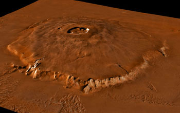 Image if Olympus Mons, a large shield volcano on the planet Mars.