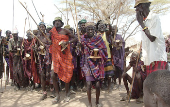Photo of Turkana warriors.