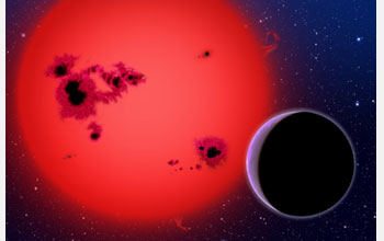 Artist's conception of a super-Earth orbiting GJ1214, a nearby star, 40 light years away.