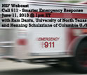 Webcast opening slide showing an ambulance in transit