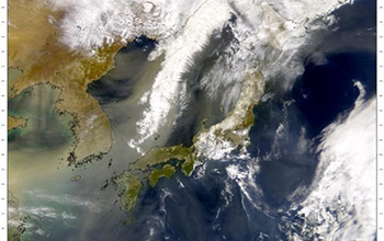 a dust plume leaving China