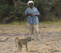 Photo of a team of field assistants observing baboons in Amboseli National Park.
