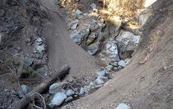 stream channel showing accumulation of fine sediment following the 2009 Station Fire in Southern California