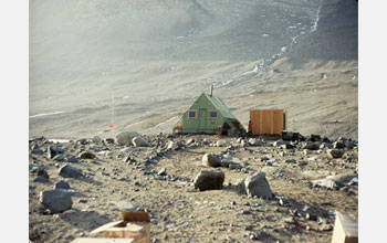 Photo of Bonney Hut beside Lake Bonney, Taylor Valley, Antarctica as it appeared in 1969.