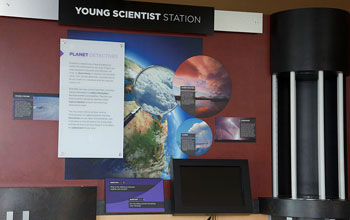 Photo of the young scientists' station at the visitor center.