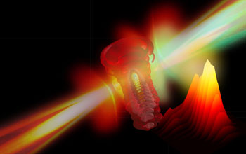 Illustration showing an electron being ripped from an atom by a strong laser field.