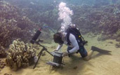 a student with the Benthic Underwater Microscope