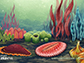 artist's conception of a scene from the Garden of the Ediacaran