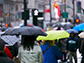 people walking with umbrellas