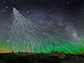 a high-energy cosmic ray enters the atmosphere, causing a shower of particles
