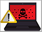 image of a laptop with the poison symbol on the screen