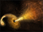 a star being shredded by the powerful gravity of a supermassive black hole