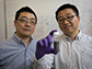 Wenzhuo Wu and Peide Ye with a vial of tellurene, a 2-D material